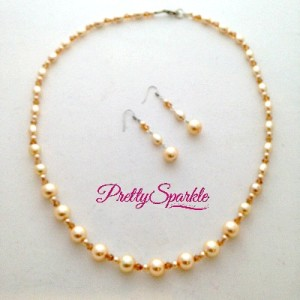Cream and gold crystal necklace set